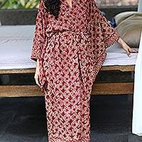 Batik robe, 'Ruby Red Nebula' - Handcrafted Batik Robe from Indonesia