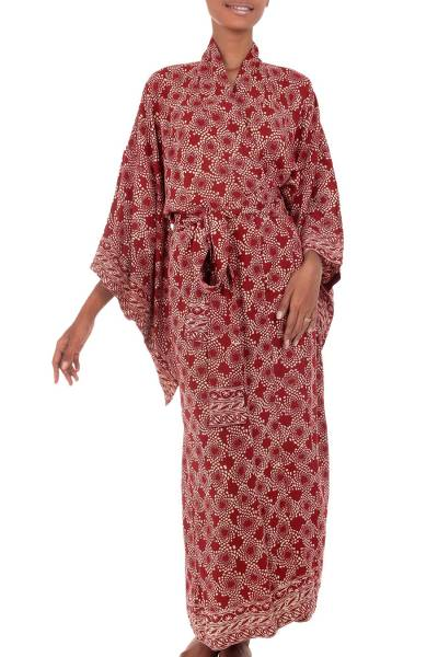 Batik robe, 'Ruby Red Nebula' - Red Hand Crafted Batik Robe from Indonesia