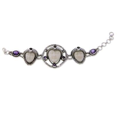 Cow bone and amethyst link bracelet, 'Noble Serenity' - Sterling Silver and Cow Bone Link Bracelet