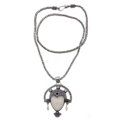 Cow bone and amethyst pendant necklace, 'Queen of Java' - Amethyst and Cow Bone Pendant Necklace