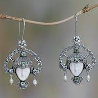 Cow bone and peridot pendant earrings, 'Queen of Plumeria' - Handcrafted Blue Topaz and Cow Bone Earrings from Indonesia
