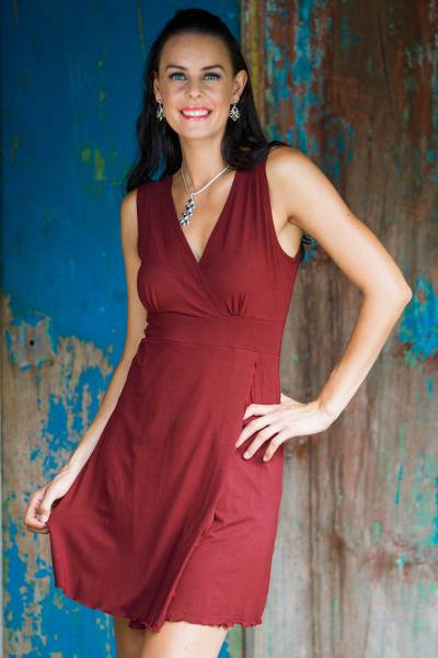 Jersey knit dress, 'Sumatra in Maroon Chic' - Unique Indonesian Burgundy Knit Dress