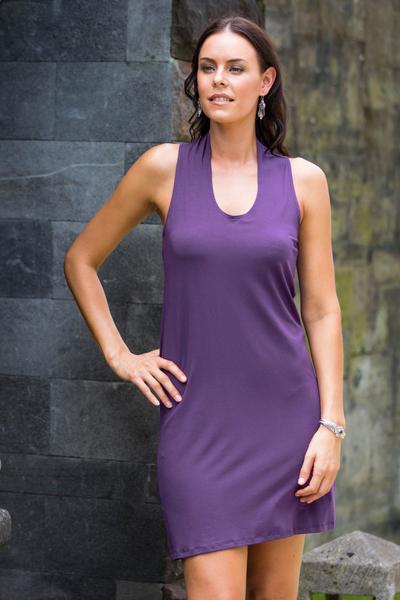 Jersey knit dress, 'New Denpasar Purple' - Jersey knit dress