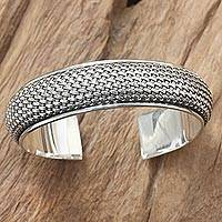 Sterling silver cuff bracelet, 'Woven Paths'