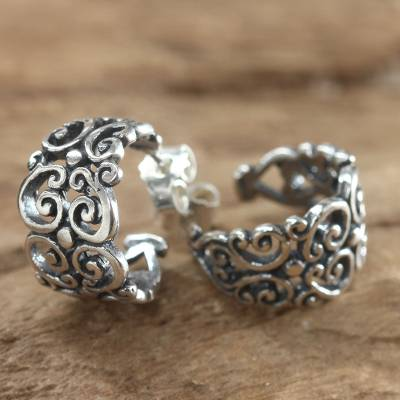 Sterling silver half hoop earrings, 'Swirling' - Sterling Silver Half Hoop Earrings