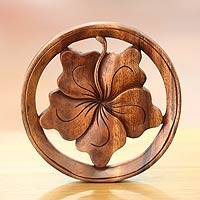 Wood relief panel, 'Balinese Hibiscus Flower' - Handcrafted Wood Floral Decorative Wall Hanging