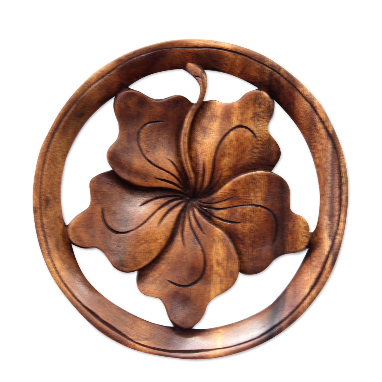 Wood relief panel balinese hibiscus flower novica izmirmasajfo