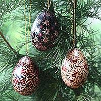 Wood batik ornaments, 'Java Stars' (set of 3) - Hand Made Batik Wood Christmas Ornaments (Set of 3)