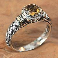 Citrine single stone ring, 'Mystic Paradise' - Sterling Silver and Citrine Ring