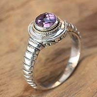 Amethyst single stone ring, 'Bali Wisdom' - Artisan Crafted Amethyst and Sterling Silver Ring