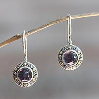 Amethyst drop earrings, 'Kingdom' - Artisan Crafted Sterling Silver and Amethyst Drop Earrings