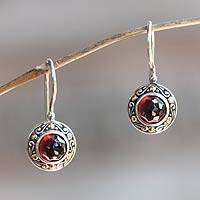 Garnet drop earrings, 'Kingdom' - Fair Trade Sterling Silver and Garnet Drop Earrings