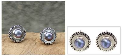 Cultured pearl button earrings, 'Lilac Moonlight Halo' - Sterling Silver and Pearl Button Earrings