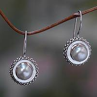 Cultured pearl drop earrings, 'Moon Halo'