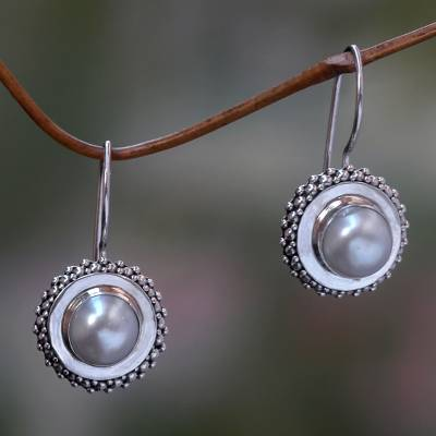 Cultured pearl drop earrings, 'Moon Halo' - Pearl and Silver Drop Earrings