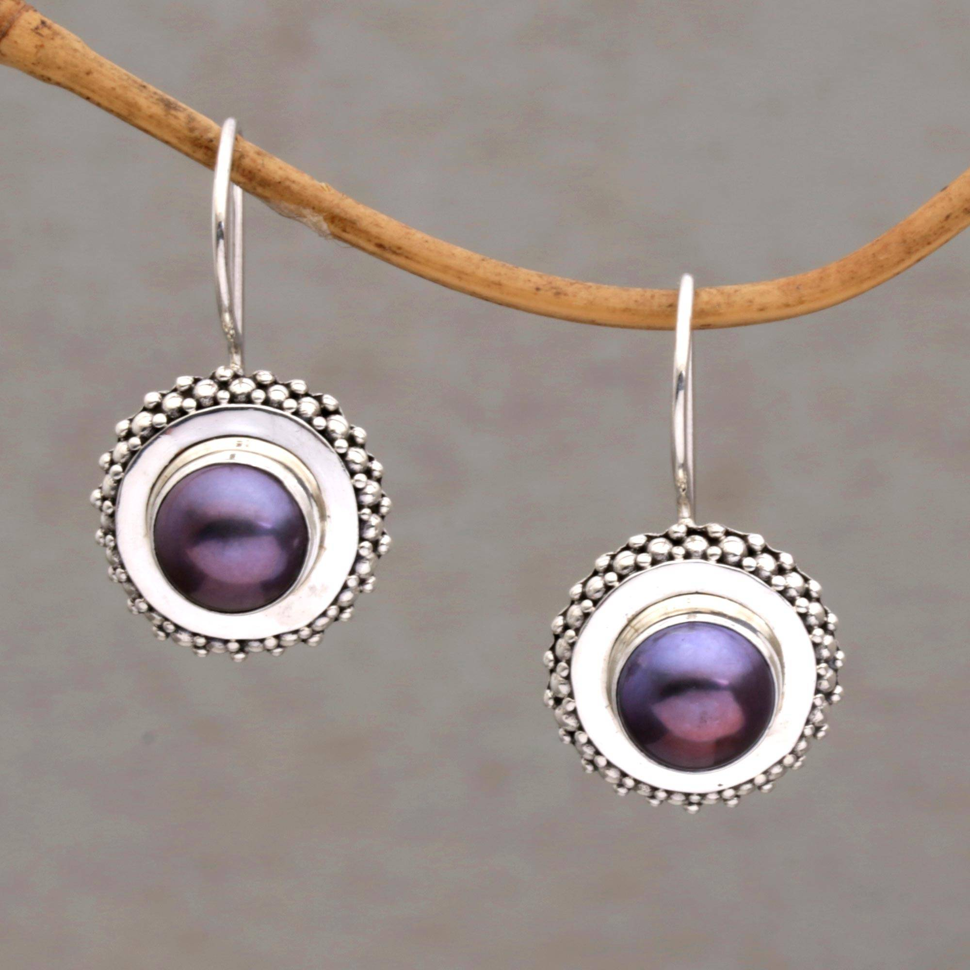 Lavender And Silver Cultured Pearl Drop Earrings Lilac Moon Halo