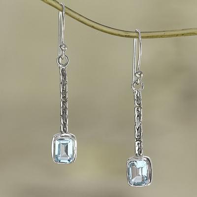 Blue topaz dangle earrings, 'Cool Lagoon' - Unique Modern Sterling Silver and Blue Topaz Earrings