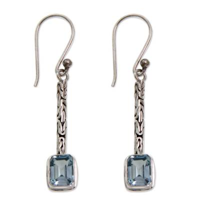 Blue topaz dangle earrings, 'Cool Lagoon' - Unique Modern Sterling Silver and Blue Topaz Earrings