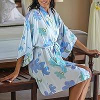 Women's handpainted robe, 'Blue Hibiscus'