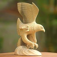 Wood sculpture, 'Flying Eagle' - Unique Wood Bird Sculpture