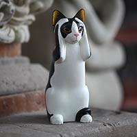 Wood sculpture, 'Hear No Evil Spotted Cat' - Fair Trade Cat Sculpture Handcrafted in Wood