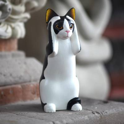 Wood sculpture, 'Hear No Evil Spotted Cat' - Albesia Wood Sculpture