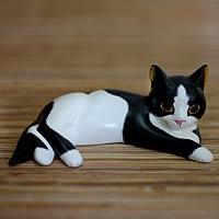 Wood sculpture, 'Spotted Kitten' - Wood sculpture