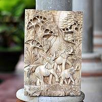 Wood relief panel, 'Life of the Elephants' - Wood relief panel