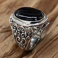 Men's onyx ring, 'Song of the Night' - Men's Onyx and Sterling Silver Ring