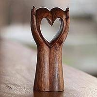 Wood sculpture, 'Faithful Heart' - Hand Crafted Romantic Sculpture