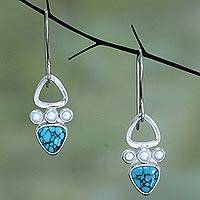 Silver dangle earrings, 'Turquoise Sky' - Silver dangle earrings