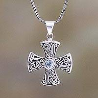 Blue topaz cross necklace, 'Light of Faith'