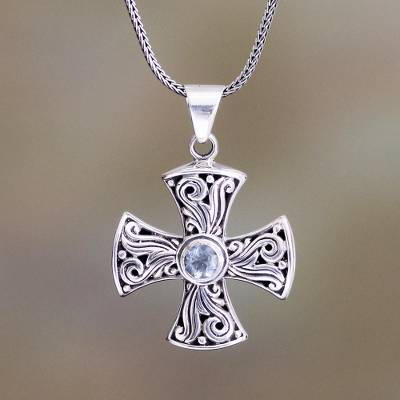 Blue topaz cross necklace, 'Light of Faith' - Blue topaz cross necklace