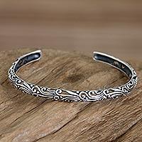 Sterling silver cuff bracelet, 'Wildfire'
