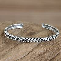 Men's sterling silver cuff bracelet, 'Waterfall' - Men's Handmade Sterling Silver Cuff Bracelet