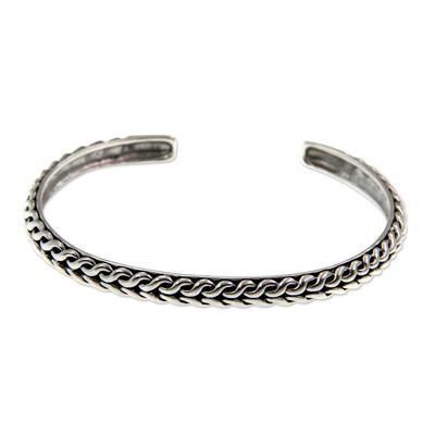 Men's sterling silver cuff bracelet, 'Waterfall' - Men's Handmade Sterling Silver Cuff Bracelet
