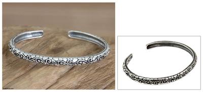 Men's sterling silver cuff bracelet, 'Temple Wall' - Men's Handcrafted Sterling Silver Cuff Bracelet