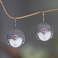 Garnet drop earrings, 'Royal Lady' - Garnet drop earrings