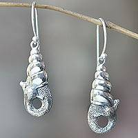 Sterling silver dangle earrings, 'Balinese Snail' - Indonesian Sterling Silver Dangle Earrings