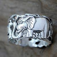Men's sterling silver band ring, 'Elephant Romance'