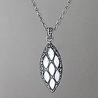 Sterling silver pendant necklace, 'Cucumber Seed' - Sterling Silver Pendant Necklace