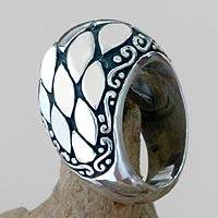 Sterling silver dome ring, 'Cucumber Seed' - Sterling silver dome ring