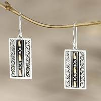 Gold accent dangle earrings, 'Treasures of Bali'