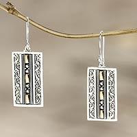 Gold accent dangle earrings, 'Treasures of Bali'