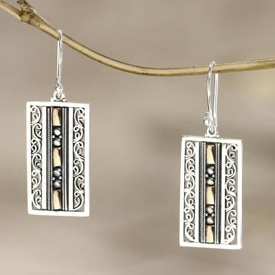 Gold accent dangle earrings, 'Treasures of Bali' - Fair Trade Sterling Silver and Gold Accent Dangle Earrings