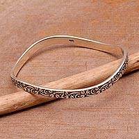 Sterling silver bangle bracelet, 'Floral Fragrance' - Floral Sterling Silver Bangle Bracelet from Bali
