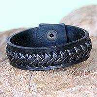 Leather bracelet, 'Black Kingdom Warrior' - Hand Made Leather Wristband Bracelet