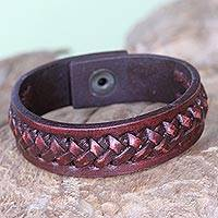 Leather bracelet, 'Red Kingdom Warrior' - Leather bracelet