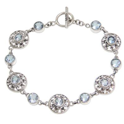 Floral Sterling Silver and Blue Topaz Link Bracelet