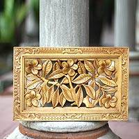 Wood relief panel, 'Frangipani Tree' - Wood relief panel